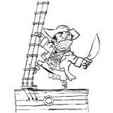 Ο γενναίος πειρατής είναι στο σκάφος Στοκ εικόνα με δικαίωμα ελεύθερης χρήσης