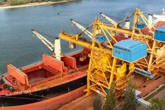 Ο γερανός ξεφορτώνει το σιδηρομετάλλευμα στο λιμάνι Εμπόριο στις πρώτες ύλες Εργασία σε έναν λιμένα στη θάλασσα της Βαλτικής Στοκ Φωτογραφίες