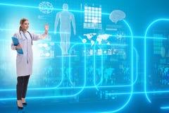 Ο γιατρός γυναικών στη φουτουριστική έννοια τηλεϊατρικής απεικόνιση αποθεμάτων