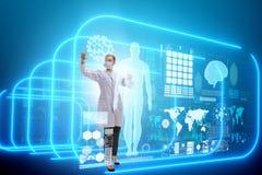 Ο γιατρός γυναικών στη φουτουριστική έννοια τηλεϊατρικής διανυσματική απεικόνιση