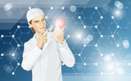 Ο γιατρός κάνει την τροποποίηση ΓΤΟ σε ένα μήλο διανυσματική απεικόνιση