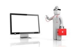 Ο γιατρός με το στηθοσκόπιο εξετάζει την ηλεκτρονική ελεύθερη απεικόνιση δικαιώματος