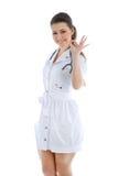 Ο γιατρός σε ένα άσπρο υπόβαθρο Στοκ Φωτογραφίες