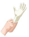 Ο γιατρός φορά τα αποστειρωμένα γάντια λατέξ. διανυσματική απεικόνιση