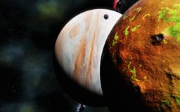 Ο γιγαντιαίος πλανήτης αερίου και το ηφαιστειακό φεγγάρι, τρισδιάστατοι δίνουν στοκ φωτογραφία με δικαίωμα ελεύθερης χρήσης