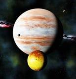 Ο γιγαντιαίος πλανήτης αερίου και το ηφαιστειακό φεγγάρι, τρισδιάστατοι δίνουν στοκ εικόνες