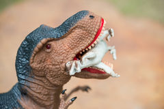 Ο γιγαντιαίος τυραννόσαυρος δαγκώνει το μικρότερο δεινόσαυρο Στοκ Εικόνες