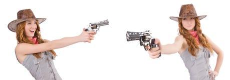 Ο γκάγκστερ γυναικών με το πυροβόλο όπλο που απομονώνεται στο λευκό Στοκ Εικόνες