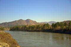 Ο γρήγορος ποταμός Katun φέρνει τα τυρκουάζ νερά του κατά μήκος του ποδιού των βουνών Altai Gorny Altai, Σιβηρία, Ρωσία o στοκ φωτογραφίες με δικαίωμα ελεύθερης χρήσης