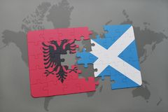 ο γρίφος με τη εθνική σημαία της Αλβανίας και η Σκωτία σε έναν κόσμο χαρτογραφούν το υπόβαθρο Στοκ εικόνα με δικαίωμα ελεύθερης χρήσης