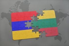 ο γρίφος με τη εθνική σημαία της Αρμενίας και η Λιθουανία σε έναν κόσμο χαρτογραφούν το υπόβαθρο Στοκ Εικόνα
