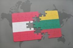 ο γρίφος με τη εθνική σημαία της Αυστρίας και η Λιθουανία σε έναν κόσμο χαρτογραφούν το υπόβαθρο Στοκ Εικόνα