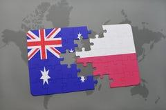 Ο γρίφος με τη εθνική σημαία της Αυστραλίας και η Πολωνία σε έναν κόσμο χαρτογραφούν το υπόβαθρο Στοκ Εικόνες