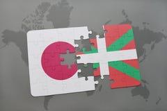 ο γρίφος με τη εθνική σημαία της βασκικής χώρας της Ιαπωνίας και σε έναν κόσμο χαρτογραφεί το υπόβαθρο Στοκ Εικόνες