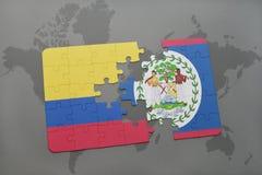 ο γρίφος με τη εθνική σημαία της Κολομβίας και η Μπελίζ σε έναν κόσμο χαρτογραφούν το υπόβαθρο Στοκ φωτογραφία με δικαίωμα ελεύθερης χρήσης