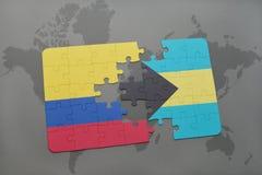 ο γρίφος με τη εθνική σημαία της Κολομβίας και οι Μπαχάμες σε έναν κόσμο χαρτογραφούν το υπόβαθρο Στοκ φωτογραφία με δικαίωμα ελεύθερης χρήσης