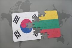 ο γρίφος με τη εθνική σημαία της Νότιας Κορέας και η Λιθουανία σε έναν κόσμο χαρτογραφούν το υπόβαθρο Στοκ φωτογραφίες με δικαίωμα ελεύθερης χρήσης