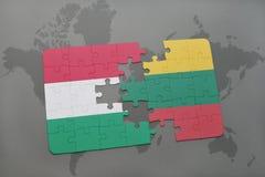 ο γρίφος με τη εθνική σημαία της Ουγγαρίας και η Λιθουανία σε έναν κόσμο χαρτογραφούν το υπόβαθρο Στοκ Εικόνα
