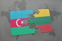 ο γρίφος με τη εθνική σημαία του Αζερμπαϊτζάν και η Λιθουανία σε έναν κόσμο χαρτογραφούν το υπόβαθρο Στοκ εικόνες με δικαίωμα ελεύθερης χρήσης