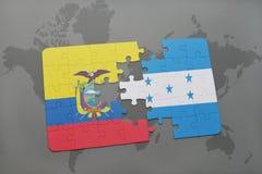 ο γρίφος με τη εθνική σημαία του Ισημερινού και η Ονδούρα σε έναν κόσμο χαρτογραφούν το υπόβαθρο Στοκ φωτογραφία με δικαίωμα ελεύθερης χρήσης