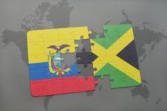 ο γρίφος με τη εθνική σημαία του Ισημερινού και η Τζαμάικα σε έναν κόσμο χαρτογραφούν το υπόβαθρο Στοκ Εικόνες
