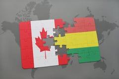 ο γρίφος με τη εθνική σημαία του Καναδά και η Βολιβία σε έναν κόσμο χαρτογραφούν το υπόβαθρο διανυσματική απεικόνιση