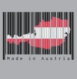 Ο γραμμωτός κώδικας έθεσε τη μορφή στην περίληψη χαρτών της Αυστρίας στο μαύρο γραμμωτό κώδικα με το γκρίζο υπόβαθρο, κείμενο: Κα απεικόνιση αποθεμάτων