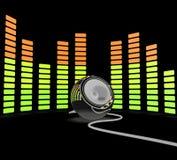 Ο γραφικός εξισωτής παρουσιάζει το μουσική ποπ ή ακουστικό ομιλητή διανυσματική απεικόνιση