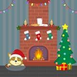 2$ο γραφικό νέο έτος υπολογιστών Χριστουγέννων καρτών designe Ένα χαριτωμένο κουτάβι corgi σε ένα καπέλο Santa κοιμάται κοντά στη απεικόνιση αποθεμάτων