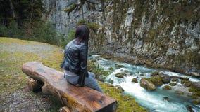 Ο γυναικείος οδοιπόρος που κοιτάζει στους λόφους και τη λίμνη ποταμών βουνών, κορίτσι που απολαμβάνει το πανοραμικό τοπίο φύσης σ απόθεμα βίντεο