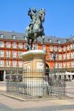 Ο δήμαρχος Plaza στην κεντρική Μαδρίτη Στοκ Εικόνες