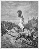 Ο Δαβίδ σκοτώνει Goliath απεικόνιση αποθεμάτων