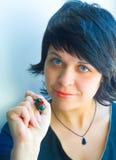 ο δείκτης κοριτσιών κάτι &sigma Στοκ εικόνες με δικαίωμα ελεύθερης χρήσης