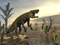 Ο δεινόσαυρος Batrachotomus τρισδιάστατος δίνει Στοκ Εικόνες
