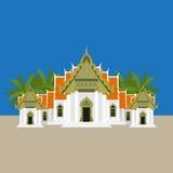 Ο διάσημος μαρμάρινος ναός Benchamabophit Dusitvanaram Ασιάτης που επισκέπτεται από τη Μπανγκόκ, Wat - βουδιστικός ναός στην Ταϊλ απεικόνιση αποθεμάτων
