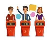 Ο διαγωνισμός γνώσεων παρουσιάζει, έννοια παιχνιδιών Φορείς που απαντούν στις ερωτήσεις που στέκονται στη στάση με τα κουμπιά Δια ελεύθερη απεικόνιση δικαιώματος