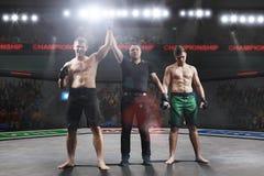 Ο διαιτητής ο νικητής μετά από την πάλη mma Στοκ φωτογραφία με δικαίωμα ελεύθερης χρήσης
