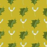Ο διακοσμητικός ελαιόπρινος φύλλων Χριστουγέννων διακλαδίζεται με χειμερινών μούρων το άνευ ραφής διάνυσμα φυτών σχεδίων αειθαλές Στοκ Εικόνες