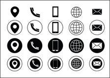 Ο διανυσματικός Μαύρος εικονιδίων στοιχείων επαφής επαγγελματικών καρτών απεικόνιση αποθεμάτων