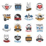 Ο διανυσματικός μουσικός ήχος εραστών του DJ τραγουδιού κτύπου της καρδιάς λογότυπων καρδιών αγάπης μουσικής κτύπησε logotype την Στοκ Εικόνες