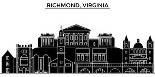 Ο διανυσματικός ορίζοντας πόλεων αμερικανικής, Ρίτσμοντ, Βιρτζίνια αρχιτεκτονικής, εικονική παράσταση πόλης ταξιδιού με τα ορόσημ Στοκ Φωτογραφίες