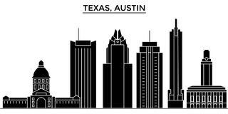 Ο διανυσματικός ορίζοντας πόλεων αμερικανικής, Τέξας Ώστιν αρχιτεκτονικής, εικονική παράσταση πόλης ταξιδιού με τα ορόσημα, κτήρι ελεύθερη απεικόνιση δικαιώματος