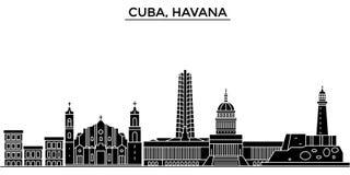 Ο διανυσματικός ορίζοντας πόλεων αρχιτεκτονικής της Κούβας, Αβάνα, εικονική παράσταση πόλης ταξιδιού με τα ορόσημα, κτήρια, απομό διανυσματική απεικόνιση