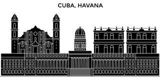 Ο διανυσματικός ορίζοντας πόλεων αρχιτεκτονικής πόλεων της Κούβας, Αβάνα, εικονική παράσταση πόλης ταξιδιού με τα ορόσημα, κτήρια διανυσματική απεικόνιση