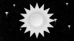 Ο διαστημικός σταθμός ήλιων της sci-Fi Techno περιστρέφεται στην τρισδιάστατη ζωτικότητα υποβάθρου αστεριών ελεύθερη απεικόνιση δικαιώματος