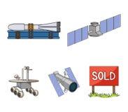 Ο διαστημικός σταθμός στην τροχιά, η προετοιμασία του πυραύλου έναρξης, ο σεληνιακός πλάνης στην επιφάνεια Σύνολο διαστημικής τεχ Στοκ εικόνα με δικαίωμα ελεύθερης χρήσης
