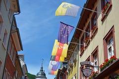 Ο διαφορετικός ευρωπαϊκός συνδικαλιστής σημαιοστολίζει την ένωση από τους πόλους σημαιών από το παλαιό ιστορικό κτήριο στην οδό τ στοκ εικόνα