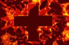 Ο διευκρινισμένος σταυρός είναι στην πυρκαγιά στοκ εικόνα με δικαίωμα ελεύθερης χρήσης