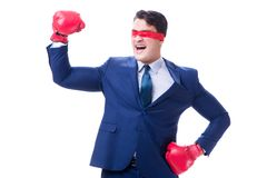 Ο δικηγόρος με το blindfold που φορά τα εγκιβωτίζοντας γάντια που απομονώνεται στο λευκό Στοκ Εικόνες