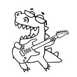Ο δράκος που παίζει την ηλεκτρική κιθάρα στα μαύρα γυαλιά επίσης corel σύρετε το διάνυσμα απεικόνισης ελεύθερη απεικόνιση δικαιώματος
